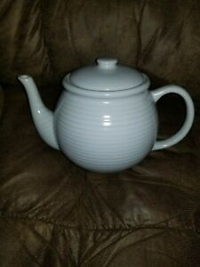 Antique White Ribbed Ceramic Teapot Large 6 Cup