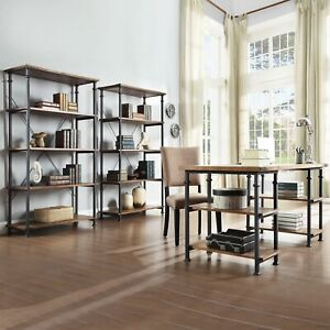 Myra Vintage Industrial Modern 3 piece Desk And 40 inch Bookcase Set By Inspire