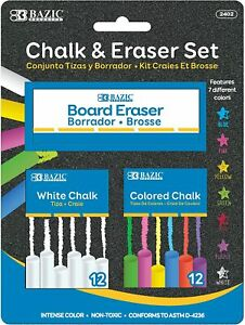 Bazic 12 Color And 12 White Chalk With Eraser Sets