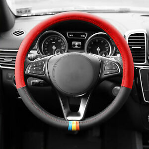 Leather Steering Wheel Cover 2 In 1 Design For Auto Suv Car Sedan Red