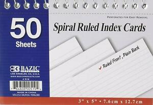 Spiral Bound 3 Inch X 5 Inch Ruled White Index Card 50 Sheets