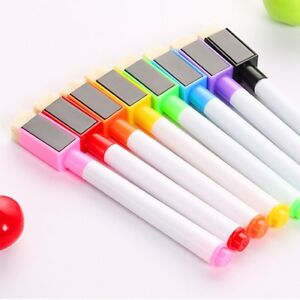 8 Colors Set Magnetic White Board Marker Pens With Dry Erase Eraser