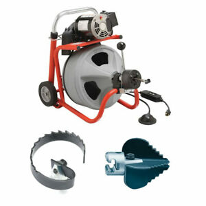 Ridgid 27013 K 400af Drum Machine Bundle W 63055 And 63025 Cutter Tools