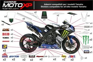 Stickers Decal Moto Compatible Yamaha R1 2015 2019 Amsb