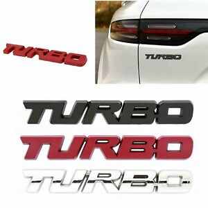 New Metal Turbo Fender Or Trunk Emblem Badge Chrome Black Red Free Shipping