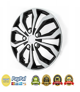 Hub Cap 15 In Abs W 10 Spokes Black silver Finish Universal Wheel Covers