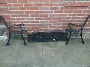 Quality Cast Iron Bench Ends And Back Section 1930 S