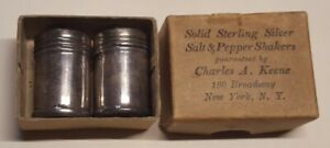 Set Of 2 Vintage Charles A Keene Salt Pepper Shakers Sterling Silver New York
