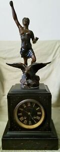 Antique Carved Figural Woman On Eagle French Marble Mantle Clock W Key Works
