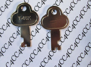 Two T46 Steamer Trunk Keys Precut Long Footlocker Key T 46k Replacement Key
