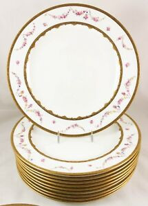 Set 13 Dinner Plates Antique Royal Crown Derby China 8916 Gold Encrusted Flowers