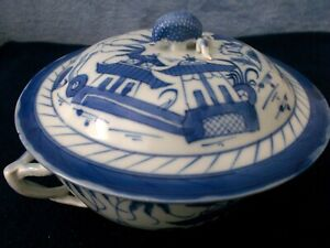 Antique Chinese Export Blue And White Canton Lidded Footed Serving Bowl