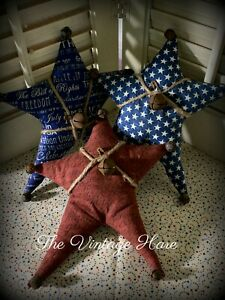 New Set Of 3 Primitive Americana Star July 4th Bowl Fillers Ornies Vintage Hare