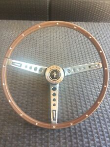 1965 1966 Ford Mustang Shelby Deluxe Pony Woodgrain Steering Wheel Original