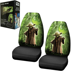 Disney Star Wars Yoda Jedi Master Green Car Truck 2 Front Bucket Seat Covers Set