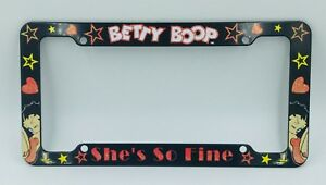 Betty Boop Plastic License Plate Frame With Stars And Hearts