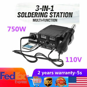 750w 3 In 1 Lcd Rework Repair Soldering Desoldering Iron Station Hot Air Heater
