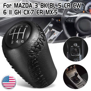 Black Leather 6 Speed Gear Knob Stick Shift For Mazda 3 5 6 Cx 7 Mx 5 2005 2014