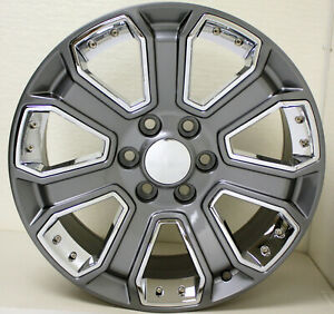 Chevy 20 Gunmetal With Chrome Wheels For 2000 2018 Silverado Suburban Tahoe