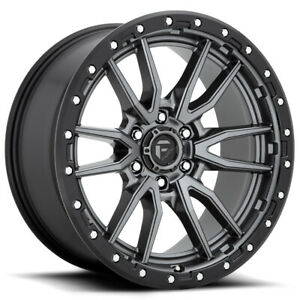 4 Fuel D680 Rebel 22x10 6x5 5 13mm Gunmetal Black Wheels Rims 22 Inch