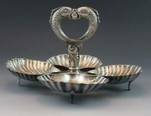 Antique Spanish Silver Plate Shell Condiment Serving Dish W Fish Handle