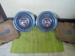 Nos 1968 Mercury Spinner 14 Hub Caps Set Of 2 Merc Wheel Covers Hubcaps 68