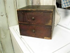 Antique Primitive Wood 2 Drawer Apothecary Cupboard W Orig Brass Knobs