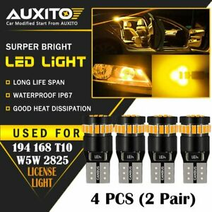 4x Auxito Amber Yellow 168 194 921 T10 License Side Marker Light Canbus Led Bulb