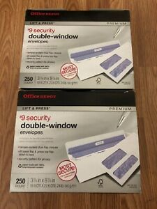 Office Depot Lift Press Double Window 9 Security Envelopes 250 Pack 2 Pack
