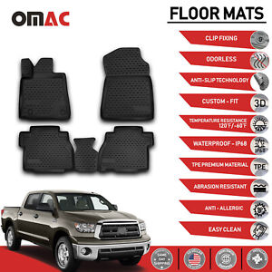 Floor Mats Liner 3d Molded Black For Toyota Tundra Double Crew Cab 2007 2011