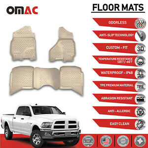 Floor Mats Liner 3d Molded Fit Tan For 2009 2019 Dodge Ram Trucks Crew Cab