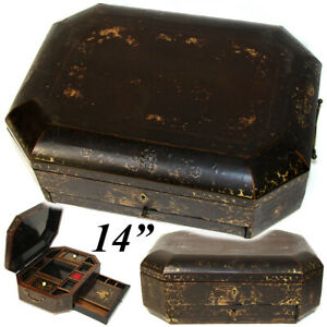 Antique Victorian Era Chinese Export Lacquer 14 Sewing Box Chest With Fittings