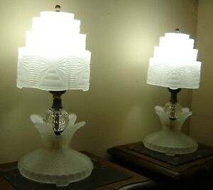 Antique Lalique Style Pair Of Art Deco Skyscraper Frosted Glass Table Lamps 1935