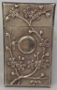Antique Chinese Export Silver 950 Card Case Cherry Blossoms Sun C 1890