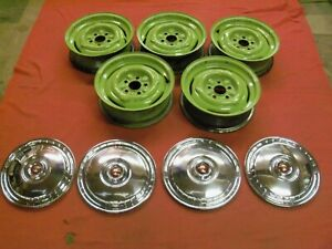 1955 1956 Ford Thunderbird Original Wheels And Hubcaps B5s 1015 a