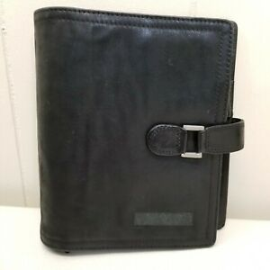 Franklin Covey Black Planner Binder Office Unstructured Full Grain Nappa Leather