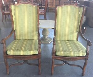 Pair Of Carved French Style Arm Chairs With Caning