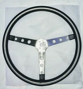 Vtg 15 Inch Steering Wheel Chrome Black Aftermarket Hot Rod Rat Rod Lowrider