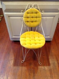 Vintage Chair Wire Metal 1950 Yellow