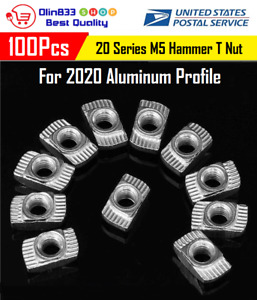 100pcs M5 Hammer T nut Sliding Nickel Plated Connector For 2020 Aluminum Profile