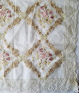 Antique Silk Embroidered Tablecloth Edwardian Victorian Tea Cloth Sm Sheer A4