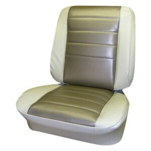 For Chevy Chevelle 65 Front 2 Tone Fawn Madrid Grain Vinyl Bucket Seat Covers
