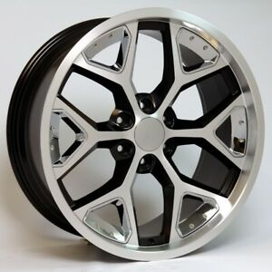 22 Black Machine With Chrome Snowflake Wheels Fits Chevy Tahoe Suburban Z71