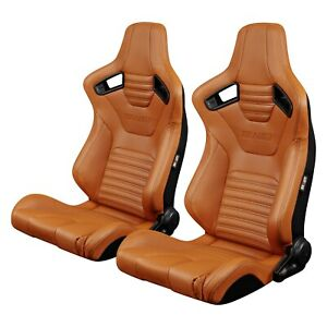 Braum Elite X Series British Tan Leatherette Racing Seats W Black Stitching