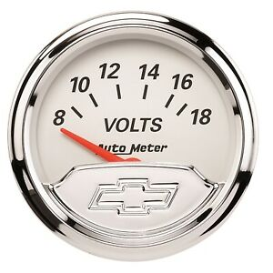 1391 00408 Autometer Chevy Vintage 2in 8 18 Volts Short Sweep Electronic Voltmet