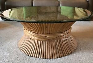 Vintage Rattan Coffee Table Mcguire Style Sheaf Of Wheat Bamboo