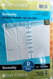 Day timer 13690 Serenity Planner Refill 2020 Jan dec 2 Pages day Size 4