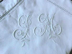 Pair Antique French M Tis Linen Embroidered Pillow Case Sm Monogram Unused 2