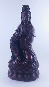 Chinese Red Resin Sitting Kuan Yin Tipping Vase Mala Beads Buddha Statue 12 Euc