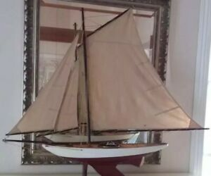 Sale Vtg Lg Wooden Model Sailing Pond Yacht Ship Boat Bluebell Myc Decorative